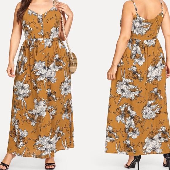 Wila Dresses Mustard Floral Maxi Dress In Plus Size Poshmark